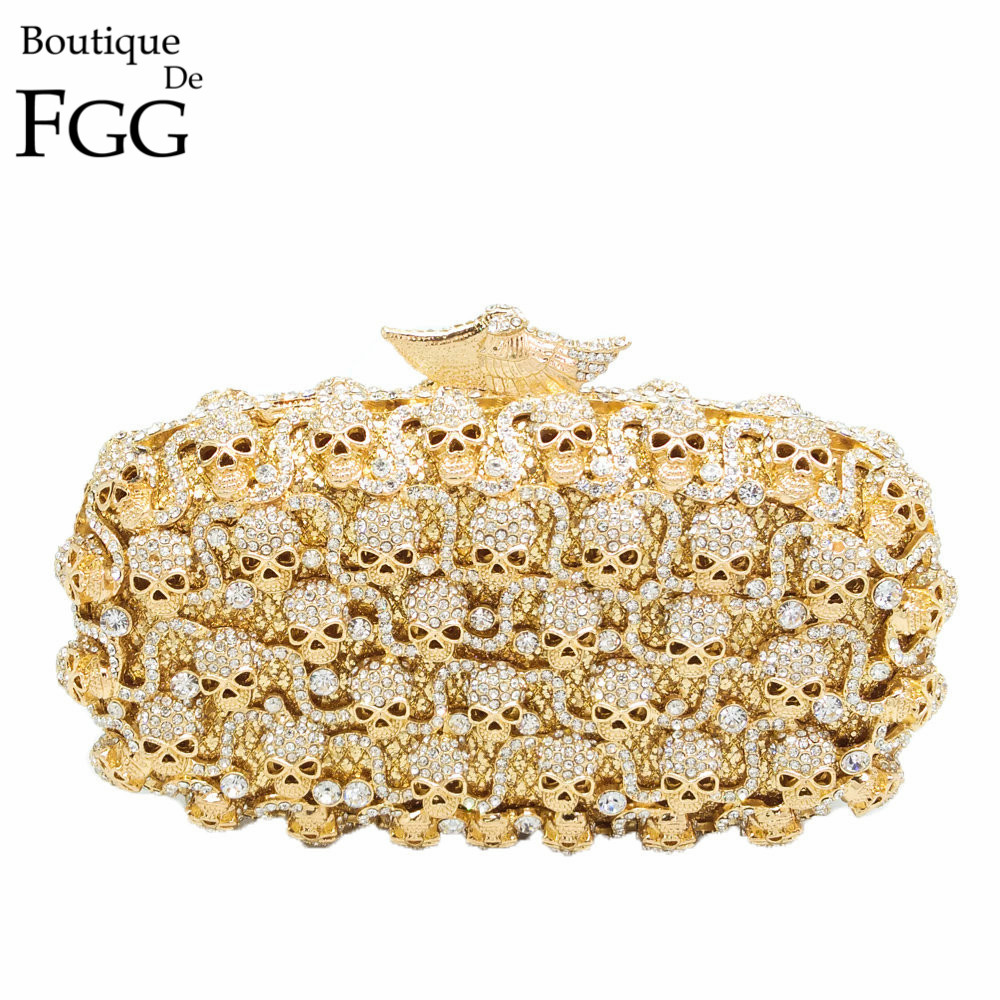 Boutique De FGG Ladies Golden Crystal Skull Evening Clutches Bag Hollow Out Diamond Wedding Clutch Purse Women Bridal Handbags