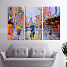aritist 3 Panel high quality 100% Hand Painted street Oil Paintings wall art picture Artwork For Living Room hotel decoration цена