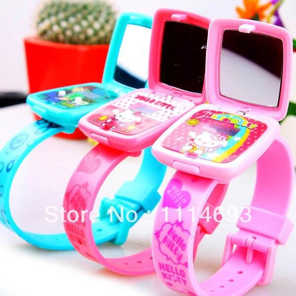 1b940ab60f2 Lovely Children Watch Silicone watch with mirror cartoon kids watch LED  watch digital watch girl s watch 2014 new arrival