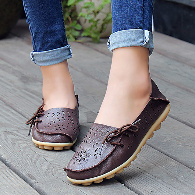 Women's Casual Genuine Leather Shoes Woman Loafers Slip-On Female Flats Moccasins Ladies Driving Shoe Cut-Outs Mother Footwear