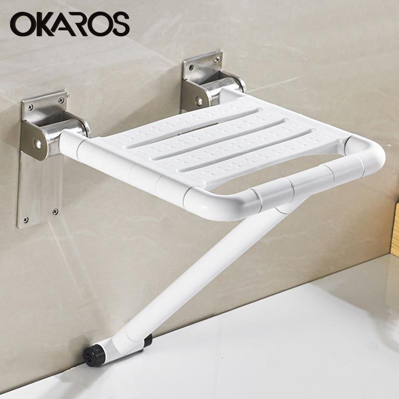 OKAROS Blanc Bleu Siège de Douche Siège de Douche Rabattable Avec Jambes Imperméable à L'eau Détente Chaise de Douche Pour Salle De Bain toilette