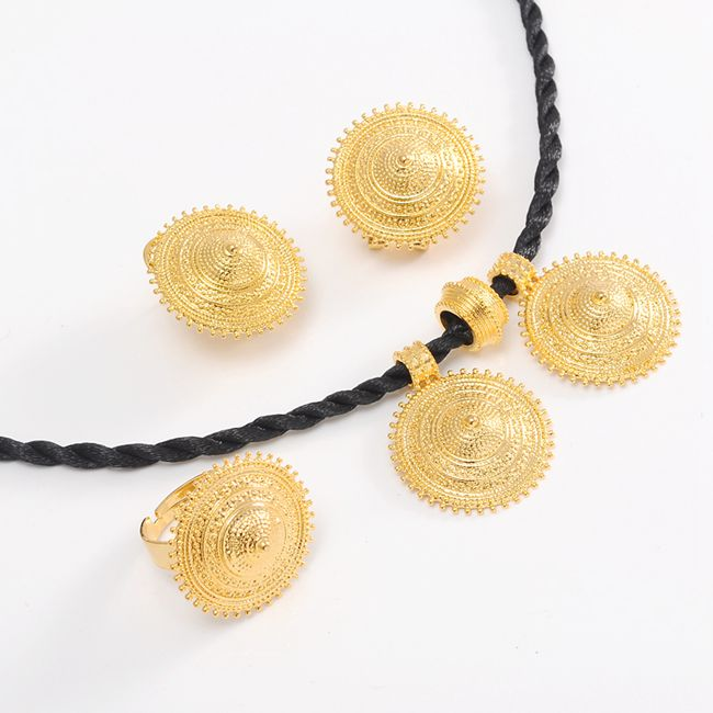 Ethiopian set Jewelry Pendant Rope Earring Ring Gold jewelry set