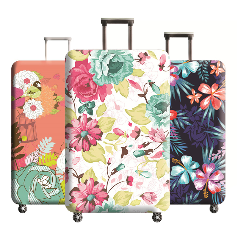 Flower Pattern Luggage Protector Suitcase Elastic Protective Covers Trolley Case Dust For 18-32 Inch Traveling Accessories H197