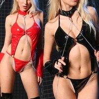 New Women Sexy Hollow Out Lingerie Jumpsuits 2017 Clubwear Stripper Leather Nightwear Underwear Erotische Bandage B2