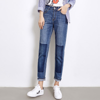 New Fashion Blue Jeans Spring Autumn Women Denim Jeans Mid Waist Loose Ow Elastic BF Pants
