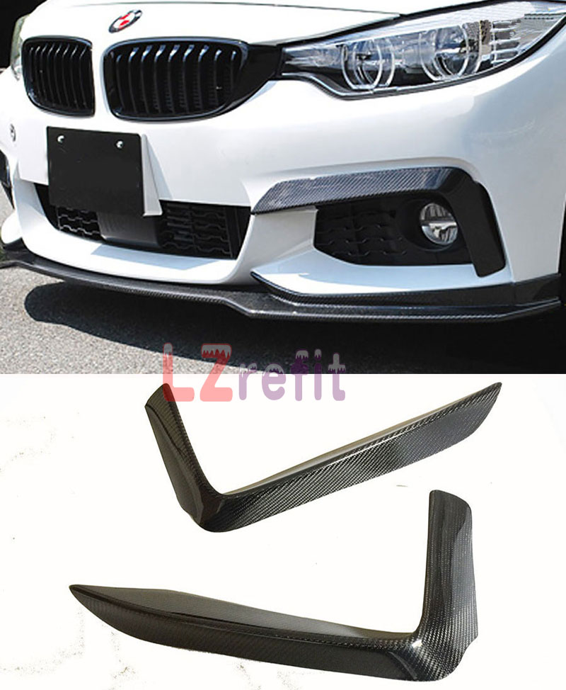 P Style Real Carbon Fiber Front Top Splitter 1pair For BMW F32 M Tech Bumper 2014UP