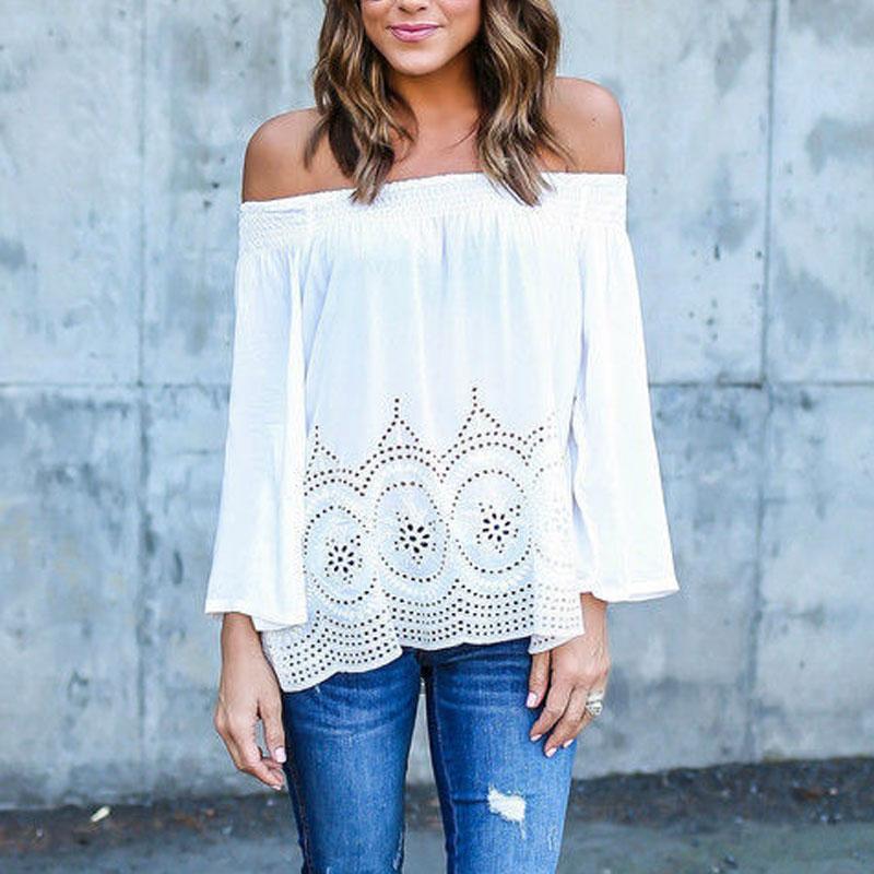 2018 Summer Off Shoulder Women Tshirt Tops Long Sleeve Hollow Out T-shirt Women Female tee shirt femme T shirt For Women