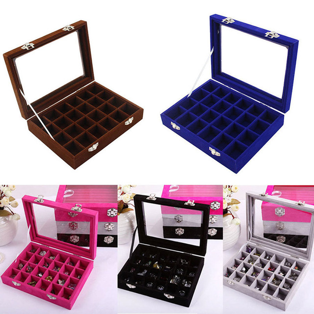 24cells Velvet Glass Jewelry Box Earring Ring Display Organizer