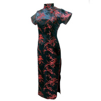 Black Red Chinese Traditional Dress Qipao Dragon Phenix Cheongsam S M L XL XXL XXXL 4XL