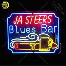 Sinal de néon para ja steers barra azul tubo vidro decoração da sala cerveja windows artesanato restaurante luz sinal lâmpadas anuncio luminoso lâmpadas