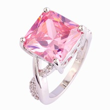 Art Deco Romantic Square Cut Pink Cubic Ziconia Silver Ring Size 6 7 8 9 10