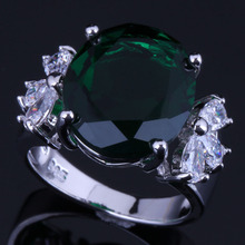 Silky Oval Green Cubic Zirconia White CZ 925 Sterling Silver Ring For Women V0609