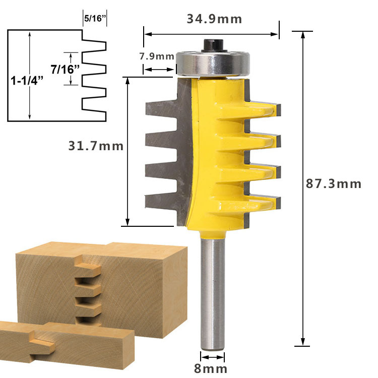 Image 2 - 8Shank Rail Reversible Finger Joint Glue Router Bit Cone Tenon Woodwork Cutter Power Tools Wood Router Cutter-in Milling Cutter from Tools