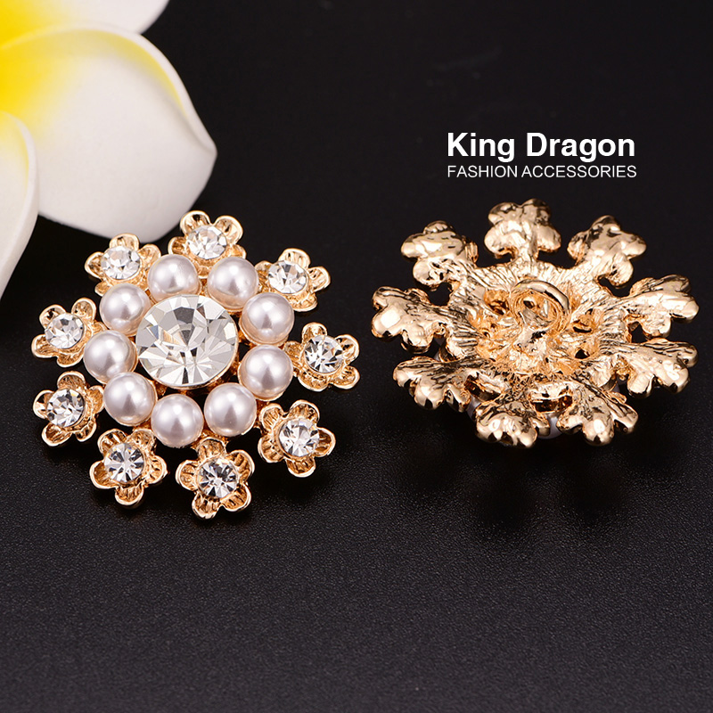 Rhinestone Flower Pearl Button With Shank Back 100pcs lot 32MM KC Gold Color KD139