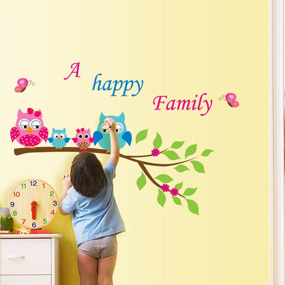 DIY Home Decoration Kid\'s Child Room Decal Cartoon Cute Happy Owl ...