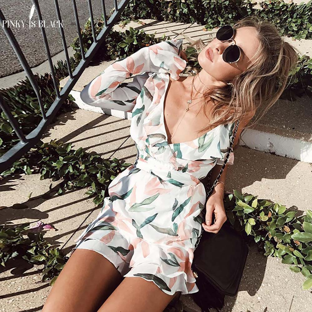 Pinky Is Black 2018 V neck print bohemian beach dress Irregular ruffles summer dress women Bandage elegant short dress vestidos in Dresses from Women 39 s Clothing