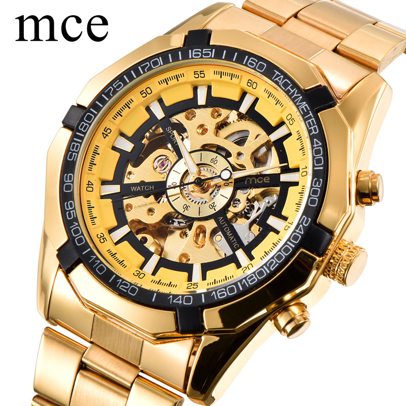 MCE Top Brand Luxury Gold Mens Watches Sport Military Full Steel Watch Men Mechanical Automatic Heren