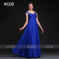 Royal Blue Chiffon Maternity Evening Dresses Appliques Pleat Prom Gowns 2016 Summer Dress For Pregnant Women