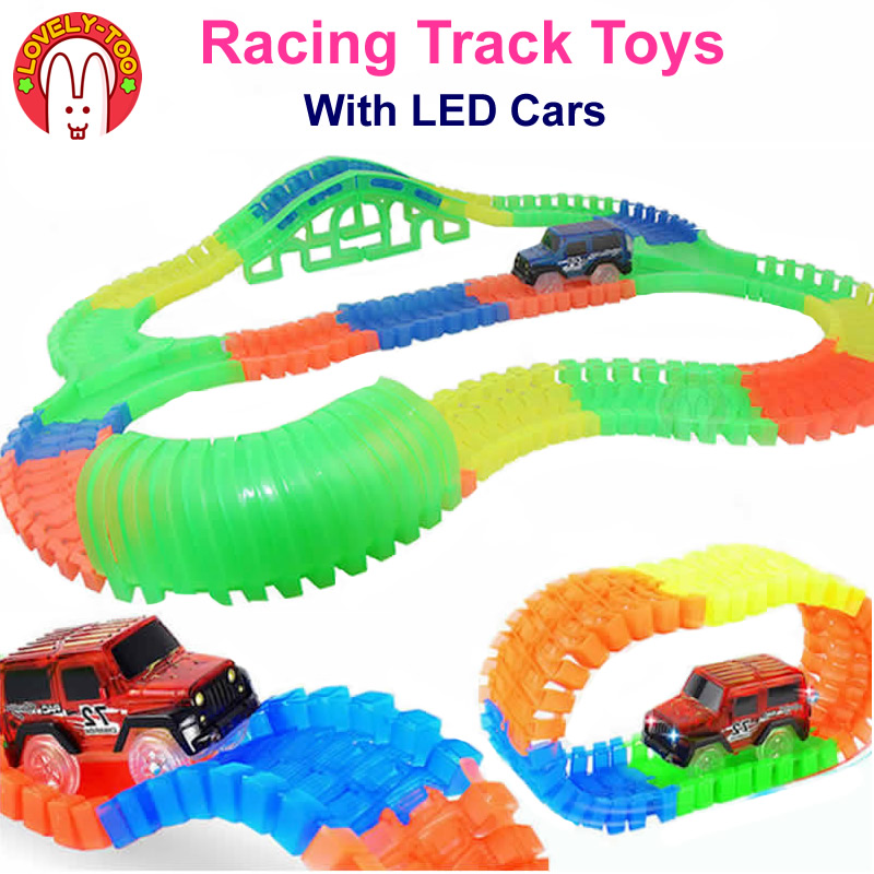 Lovely Too 220pcs/set Racing Track Car Toys Hot  Wheels Flexible Tracks With Led Cars Train Auto Kids Toy for children