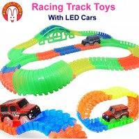 Mooie Te 220 stks/set Racing Spoor Auto Speelgoed Hot Wielen Flexibele Tracks Met Led Cars Trein Auto Kids Speelgoed voor kinderen