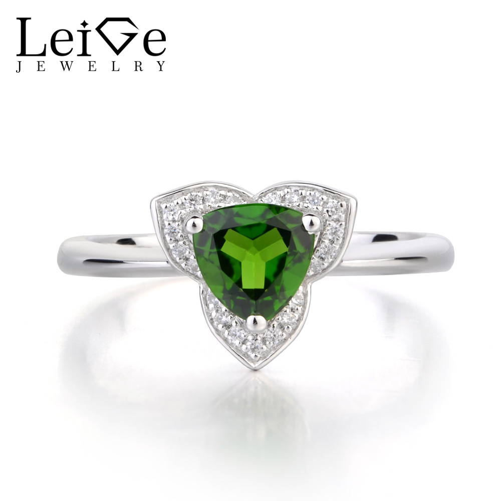 Leige Jewelry Genuine Diopside Anniversary Rings 925 Sterling Silver Ring Trillion Cut Green Fine Gemstone Ring for WomenLeige Jewelry Genuine Diopside Anniversary Rings 925 Sterling Silver Ring Trillion Cut Green Fine Gemstone Ring for Women
