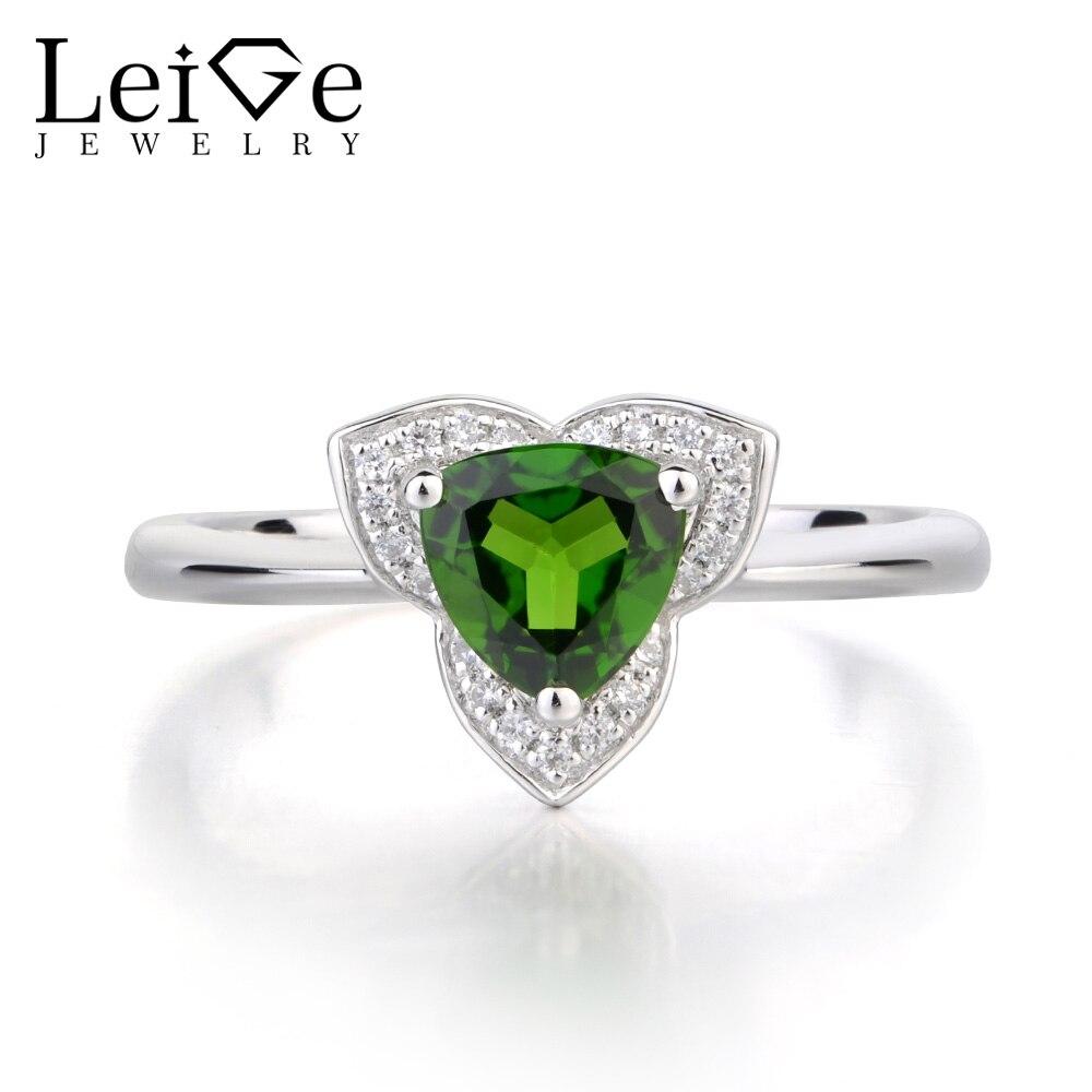 Leige bijoux véritable Diopside anniversaire anneaux 925 bague en argent Sterling Trillion coupé vert Fine bague en pierres précieuses pour les femmes