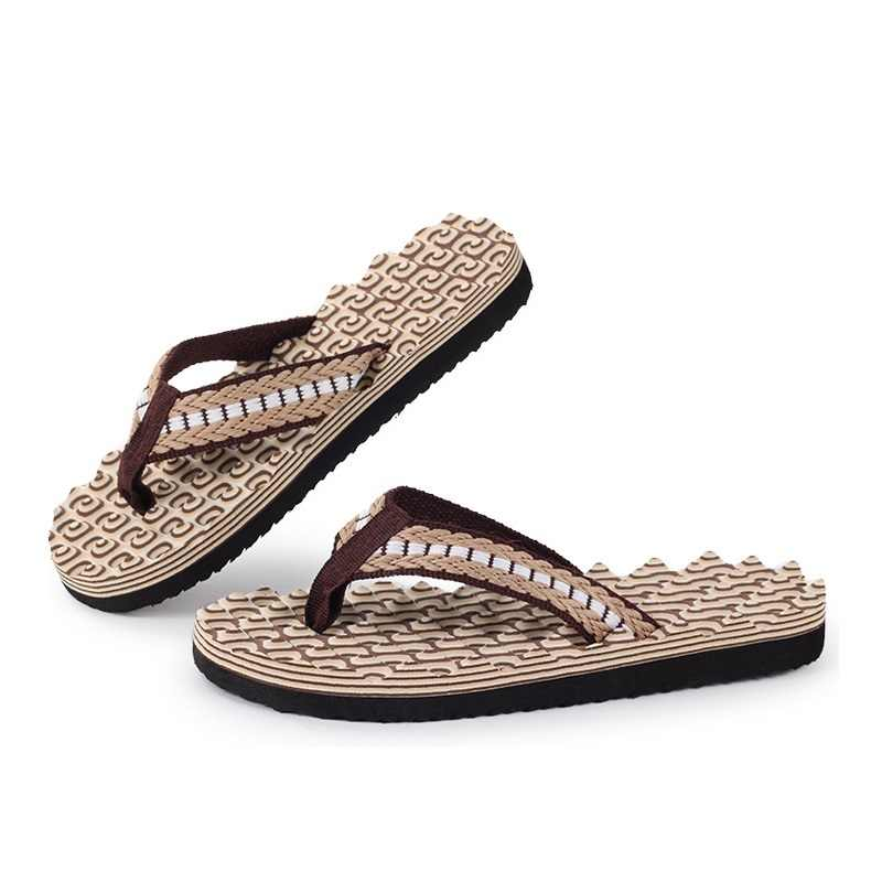 dbe4068291a4e7 ... New Summer Mens Casual Flat Slippers Flip Flops Beach Sandals Shoes  Leisure Soft Massage Slides Thongs ...