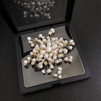FENASY Manual DIY winding Elegant Irregular geometry natural freshwater pearl brooch Star snowflake design for women party gift