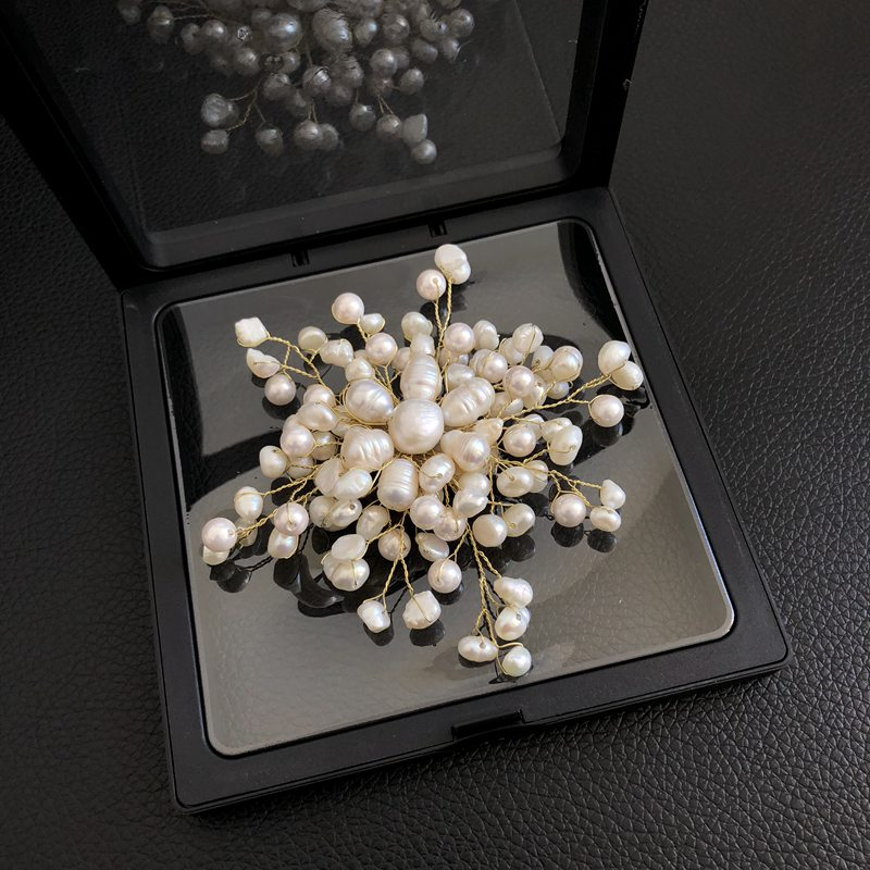 FENASY Manual DIY winding Elegant Irregular geometry natural freshwater pearl brooch Star snowflake design for women party gift elegant faux pearl embellished brooch for women