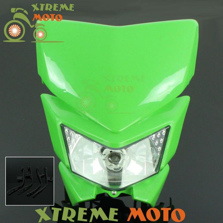 Green Universal Headlights Headlamp Street Fighter For Kawasaki KX 65 85 125 250 500 250F 450F KLX 450R 150 250 Motocross Enduro