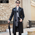 Men Long leather  Jacket Man Windbreak Turn-down Collar Single Breasted Coat