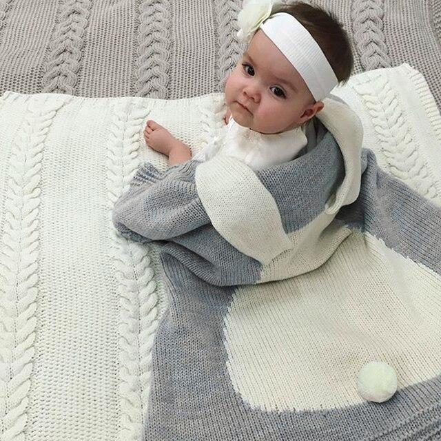 Новорожденный Ребенок Одеяло Пеленание Новый 2016 Детское Одеяло 75*105 детская Большие Уши Кролика Хлопка Трикотажные Животных Супер мягкое Одеяло