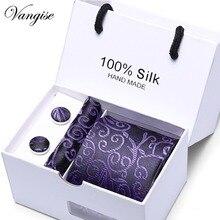 3inch Wide Plaid Classic Mens Neckties Wedding Fashion Party Man Tie Handkerchief  Cufflinks set Gift Box Packing Free ship