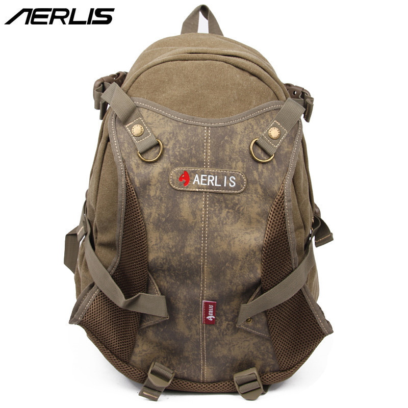 AERLIS Women Men Leaver Canvas Travel Laptop School College Shoulder Day Backpack Vintage Splice Contrast Color Rucksack 6220 рюкзак aerlis ae1030