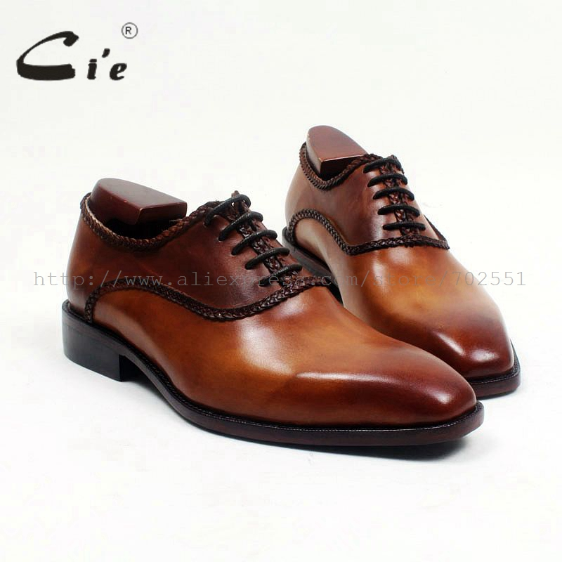 cie Free Shipping Breathable Full Grain Leather Bespoke Handmade Genuine Lace-up Square Toe men's  Oxford Color Brown Shoe OX525 купить часы haas lt cie mfh211 zsa
