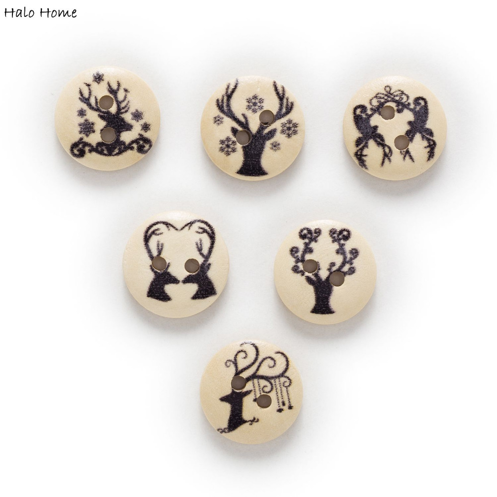 50pcs 2 Hole Owl Round Wood Buttons Clothing Decor Sewing Scrapbooking Home 15mm