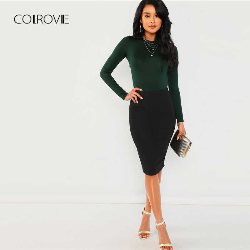 aedb2342a9 ... COLROVIE Green Solid Backless Long Sleeve Sexy Lace Bodysuit Women  Autumn Elegant Female Office Basic Skinny