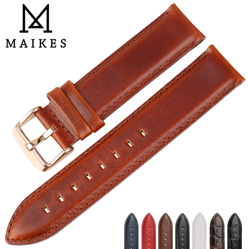 MAIKES Watch Accessories Genuine Leather Watch Strap 16mm 17mm 18mm 19mm 20mm Watchband For DW Daniel Wellington Watch Band