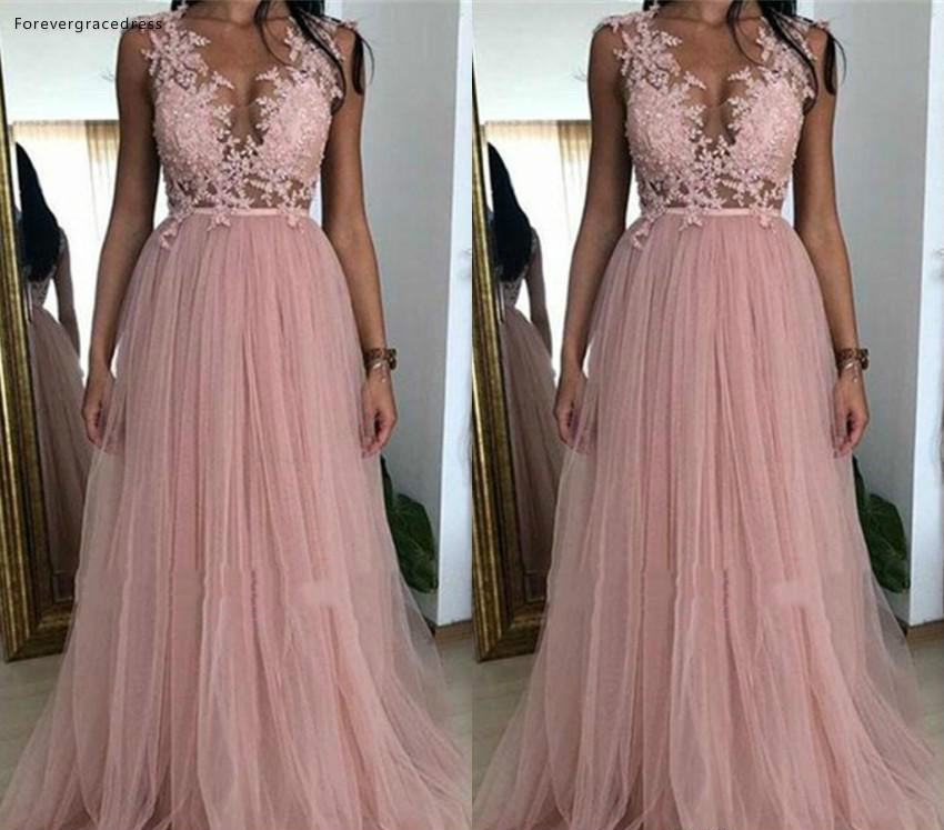Sexy A Line Dusky Pink   Prom     Dresses   2019 African Black Girls Applique Pageant Holidays Graduation Wear Formal Evening Party Gown