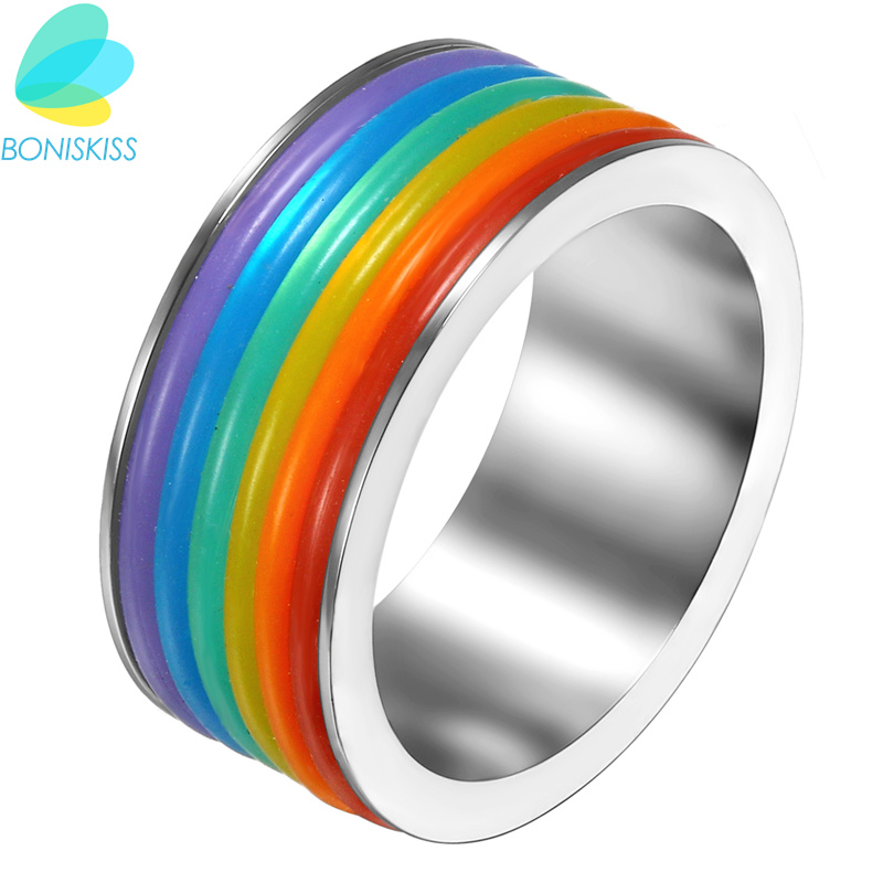 Boniskiss 9mm Stainless Steel Rings Lesbian <font><b>Bisexual</b></font> Lgbt Gay <font><b>Pride</b></font> Sex Rainbow Ring <font><b>Jewelry</b></font> For Men & Women Gift image