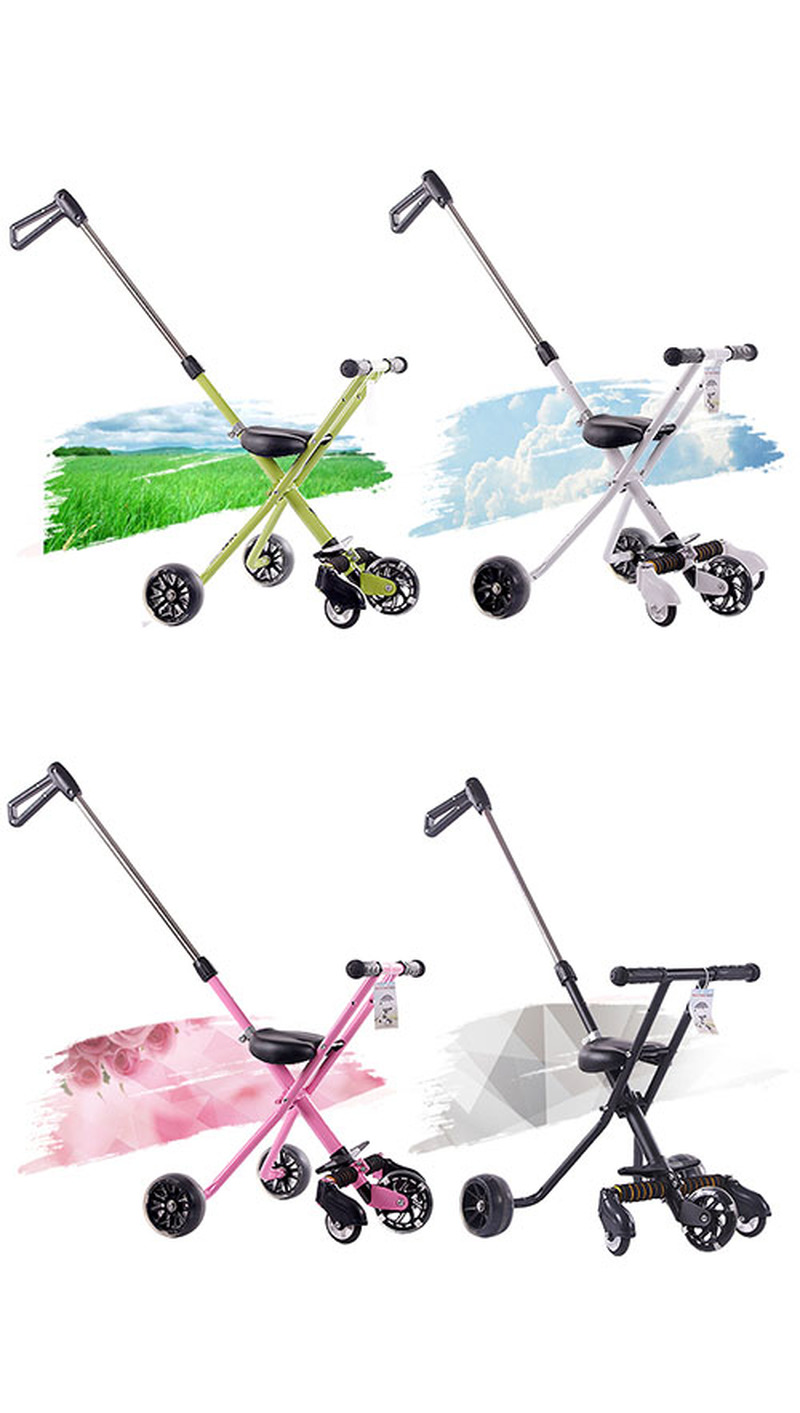 Five Wheels Portable Folding Tricycle Hand Push Walker Baby Tricycle Stroller with Umbrella Flash Wheel Baby Light Pram Steel