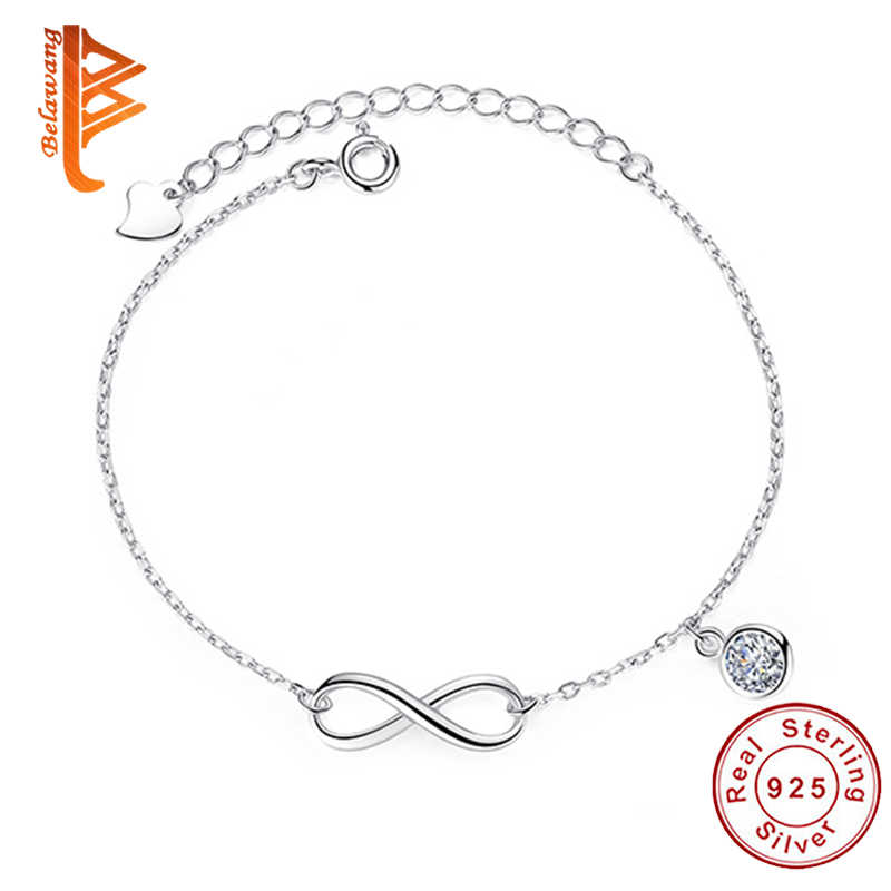 Fashion 925 Sterling Silver Crystal Zircon Infinity Charm Bracelet Adjustable Link Chain Bracelet for Women Wedding Jewelry Gift