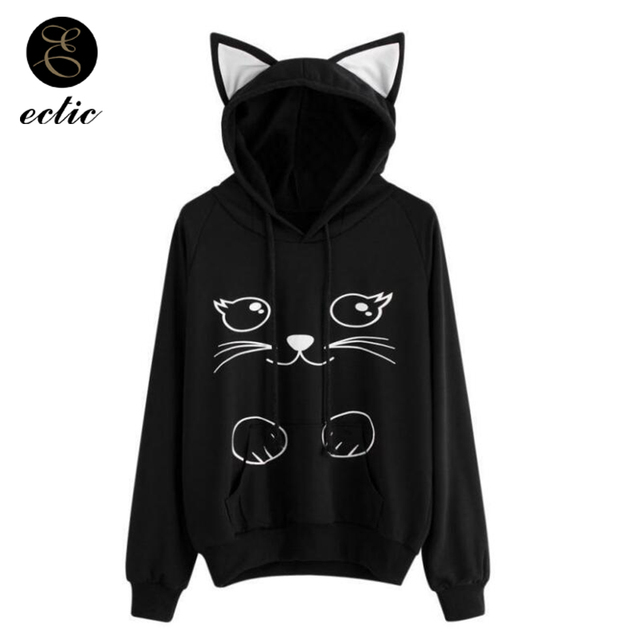 Cat Ear Poleron Mujer Kawaii Hoodies Women Kpop Sweatshirt Punk Rave Hooded Korean Harajuku Oversized Hoodie Cartoon Pastel Goth