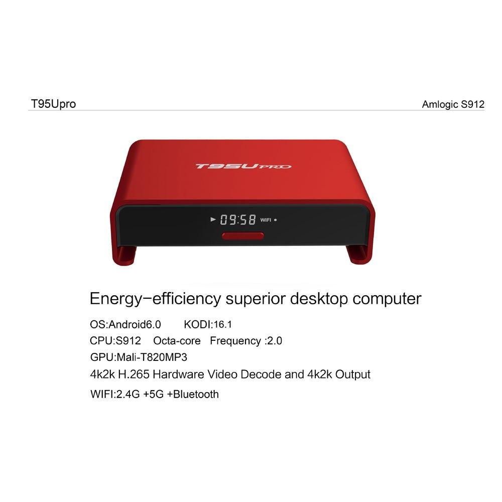 T95U Pro Android 6.0 Smart TV BOX S912 Octa Core Kodi 16.1 2GB+16GB Dual Wifi with LED display Bluetooth Streaming Media Player