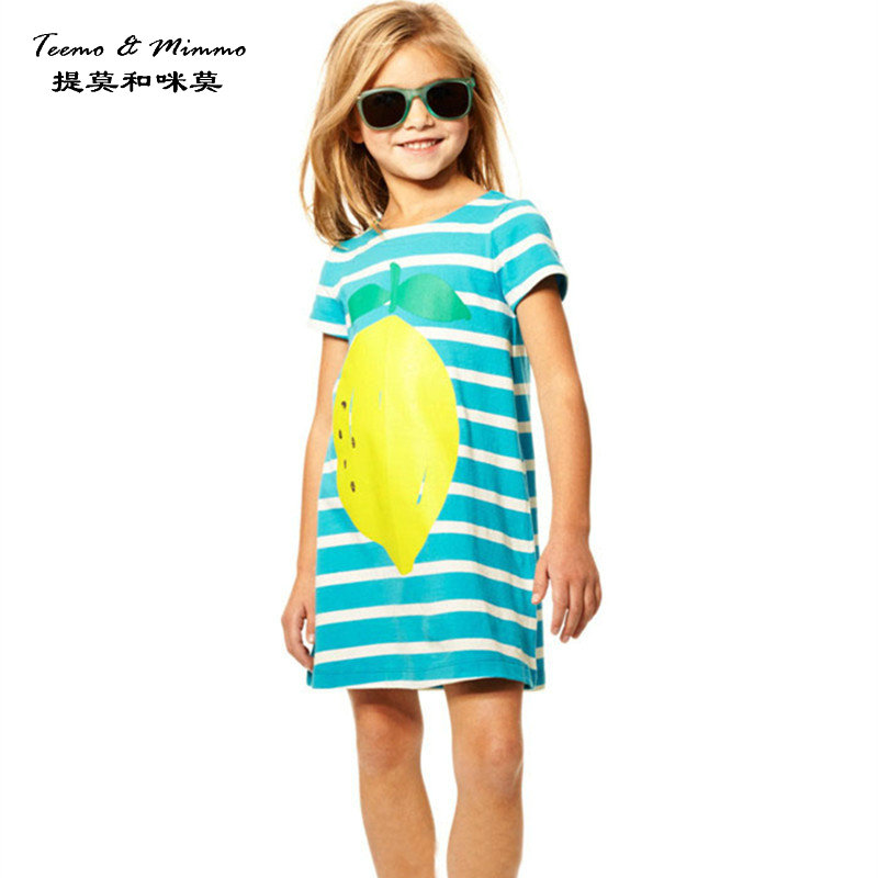 Girls dresses summer short sleeved striped Mango Beach dress Fruit ...