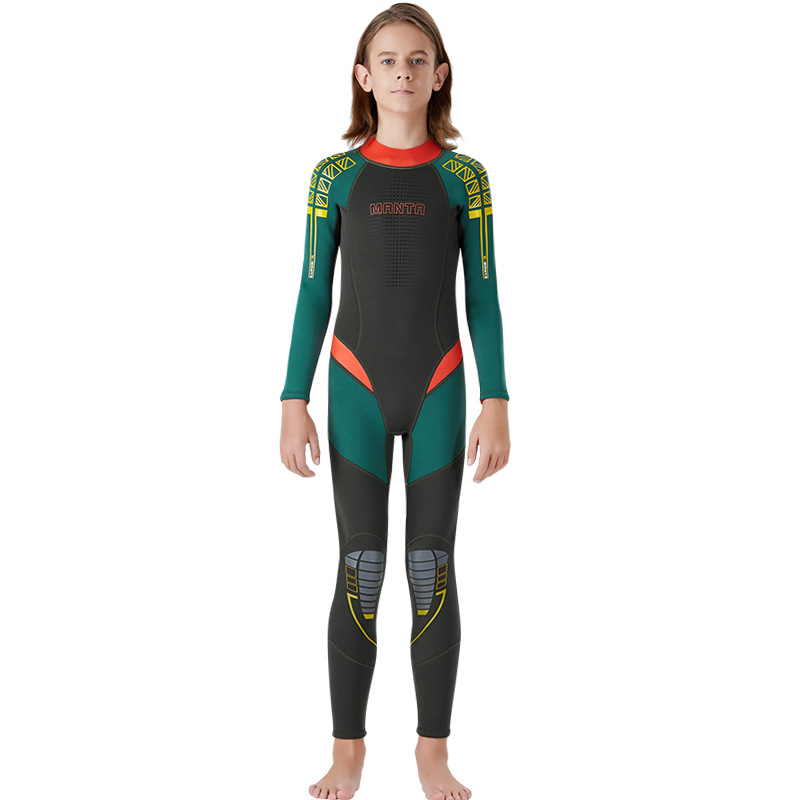 New Wetsuit Children for Boys Girls Keep Warm Long Sleeves UV Protection Swimwear One-piece 2.5 MM Neoprene Kids Diving Suit - Цвет: Army Green