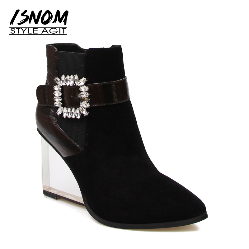 Rhinestones Buckle Ankle Boots Designer Patchwork Genuine Leather Suede Winter Boots Autumn Transparent Wedges Women Shoes Zip
