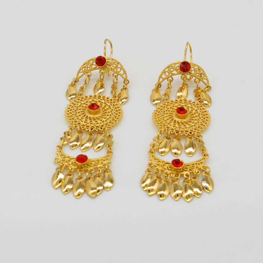 Adixyn Ethiopian Gold Drop Earrings For Women Colorcubic Zirconia Middle Eastern Fashion Jewelry In From Accessories