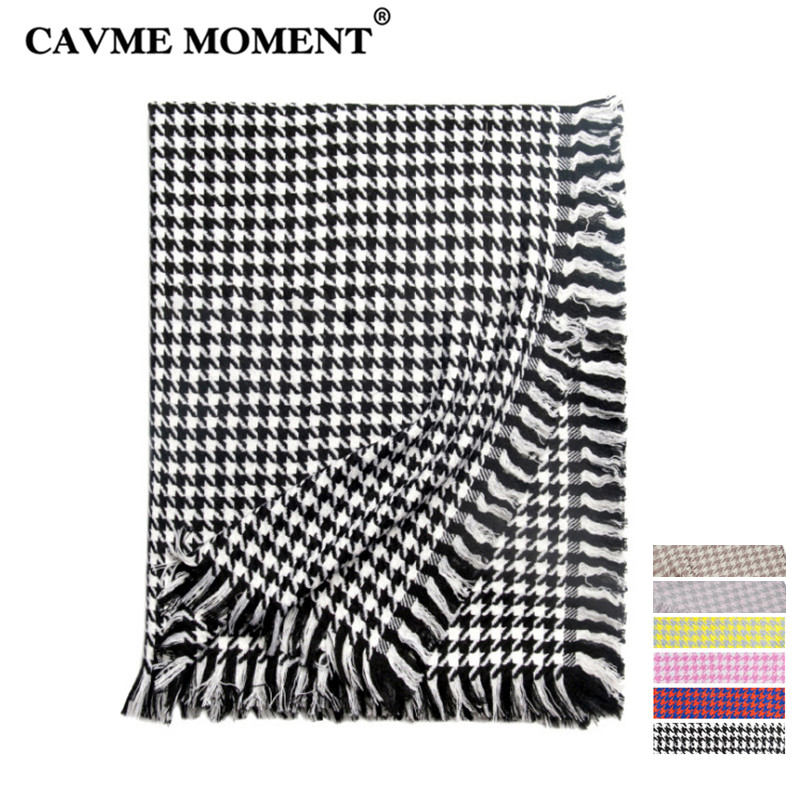 CAVME 100% Wool Scarf Women Ladies Scarves Swallow Gird Woolen Largue Wraps Plaid Shawl for Lady 85*210cm 310g