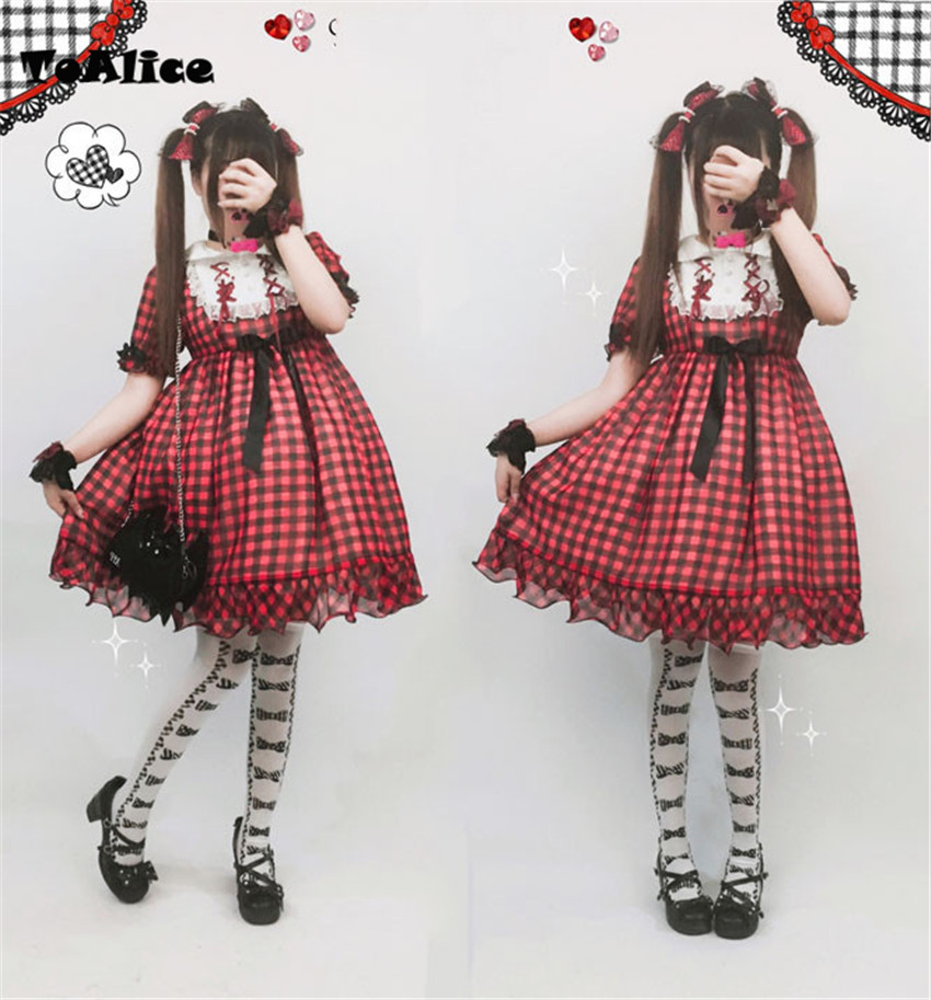 2018 New Woman Red Plaid Dress Vintage Summer Lolita OP Dress Lace Vestido Peter Pan Collar Ruffles 2018 Women Party Dresses
